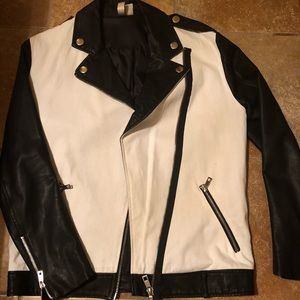 Black and white partial leather jacket.